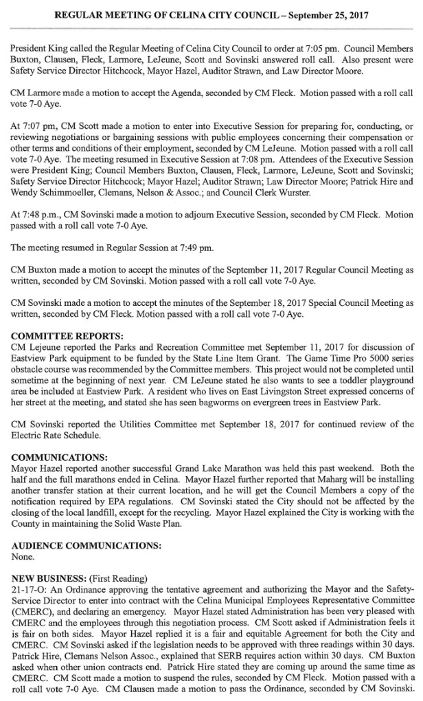 City of Celina Approved Minutes for 9-25-17